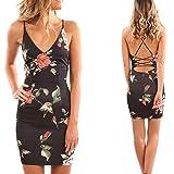 Femmes Sexy Petite Robe D'éTé Courte Style,OverDose Mini Robe Moulante Coupe Caraco à Imprimé Floral Babydoll Dress (36, Noir) - 5