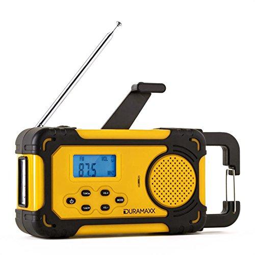 auna Patagonia radio solare da campeggio torcia elettrica portatile (luce LED integrata, 2 porte USB, radio AM/FM, display LCD, pannello solare, funzione ricarica) - giallo