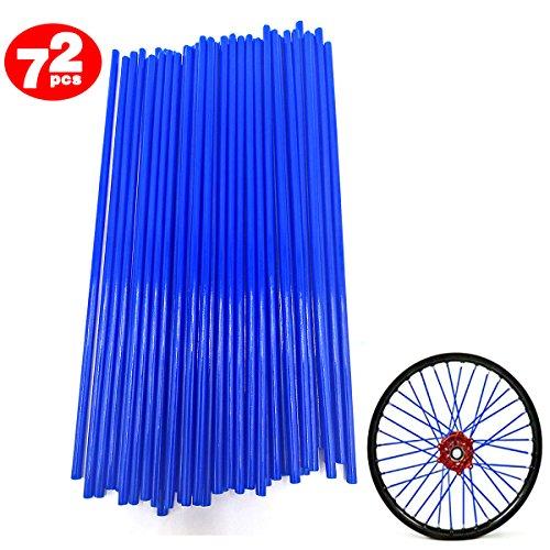 MFEU 72Pcs Motorrad-Speichen Felle Decken Räder Trim Cover Pipe Dekorative Schutzhülle Kits Passend für Geländewagen Fahrrad Off-Road Dirty Bike (Dunkelblau)