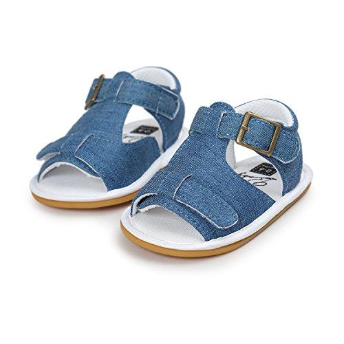 2 Paia Scarpe per bambini,Auxma Neonati maschi sandali del pattino pattini casuali molli antiscorrimento Sole Sneaker ,pattini infantili estate Cowboy+Oro
