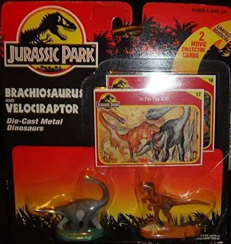 Jurassic Park Brachiosaurus and Velocirator Die-cast Metal Dinosaurs Limited Edition Mini by KENNER