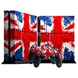 : Stillshine Protective Skin Decal Sticker Protector Skin For Sony PlayStation 4PS4Console + 2Pcs Controller blue Flags UK Painted