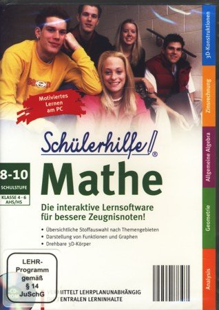 Schülerhilfe! - Mathe - 8-10 Schulstufe (Klasse 4-6 AHS/HS) : Die interaktive Lernsoftware für bessere Zeugnisnoten! - Vermittelt lehrplanunabhängig die zentralen Lerninhalte (PC CD-ROM) : LEHR-Programm gemäß § 14 JuSchG