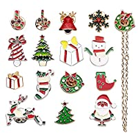 AOCHERN 15PCS Christmas Themed Enamel Lapel Pins Ornaments Lapel Pin for Cloth Christmas Decoration, with Gift Box Red A