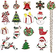 AOCHERN 15PCS Christmas Themed Enamel Lapel Pins Ornaments Lapel Pin for Cloth Christmas Decoration, with Gift