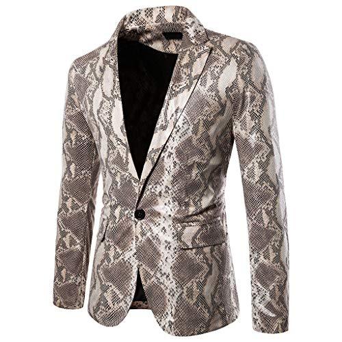 Blazer, huichang - Chaleco para Hombre, Estampado de Serpiente, para Boda, Casual, Disfraz de poliéster...