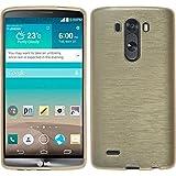 PhoneNatic LG G3 Hülle Silikon gold brushed Case G3 Tasche + 2 Schutzfolien