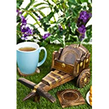 PINDIA Bullock Cart Coaster Set of 6 WOODEN TEA office home decor dinning kitchen coffe