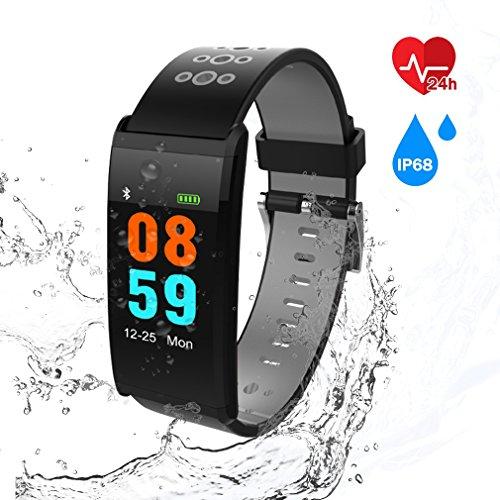 Pulsera Inteligente Deportivo,AURSEN Fitness Tracker Actividad con Podómetro,Monitor de Pulso Cardiaco,Calorías,Notificación de mensajes,IP68 Impermeable Bluetooth Pulsera Compatible con IOS y Android