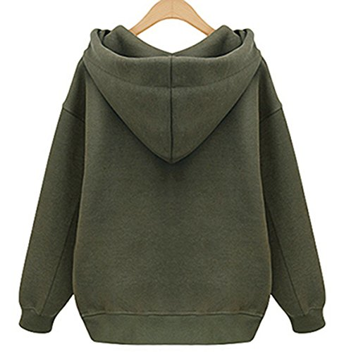Freestyle Femme Automne-Hiver Overcoat Hoodie Sweaters Chic Zip Latéral Sweats à Capuche Sweater Longue Manche Sweat-Shirt Pulls Vert