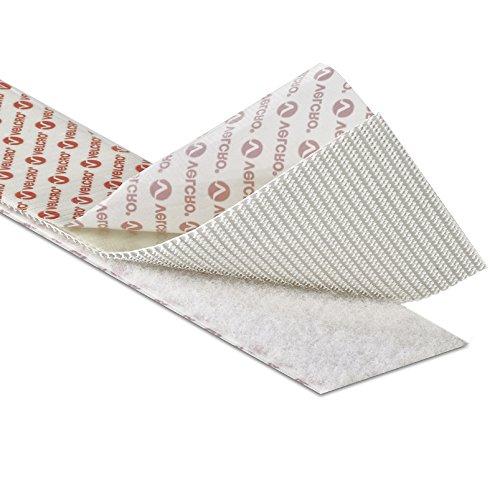 Velcro Selbsthaftendes Klettband, Klettverschluss mit klebender Rückseite, 2cm breit, Weiß, weiß, 1 m