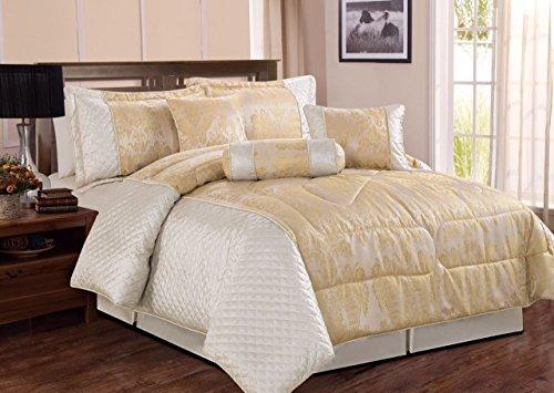 Sunrise Betten 7-Teilig Bettwäsche Sets–Ultra Weiches Mikrofaser Schlafzimmer Matratzenschonern Jacquard Bettwäsche, Cremefarben, King (255 x 225) (Jacquard-bettwäsche-set)