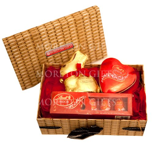 Lindt Love Easter Chocolate Hamper Box - Gold Bunny, Lindt Heart Tin & Lindor Eggs Gift Box - Romantic Easter Gift - By Moreton Gifts