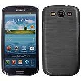 handy-point Aluminium gebürstet Optik Kunststoffhülle Hülle Schale Schutzhülle aus Kunststoff Handyhülle hardcase für Samsung Galaxy S3, S3 Neo, Schwarz