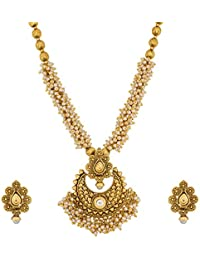 Aadita Gold Plated Pearl Studded Traditional Necklace Set With Earrings For Women And Girls