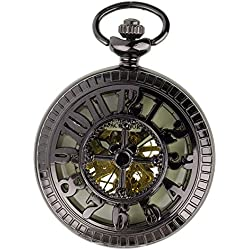 PACIFISTOR Steampunk Pocket Watch Pendant Half Hunter - Antiqued Black Lume With Gift Box