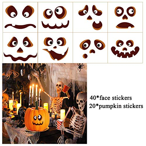 ufkleber Halloween Kürbis Deko Halloween Kürbis Sticker Pumpkin Party Decoration Kürbis Geformte Aufkleber 20Pcs Gesichtsausdruck Aufkleber 40Pcs ()