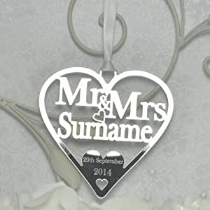 Personalised Lucky Mr and Mrs Heart Good Luck Keepsake - Wedding Anniversary Bridal Gift - Mirror Acrylic - LittleShopOfWishes