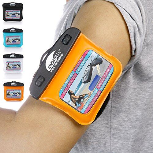 Swimcell - wasserdichte Schutzhülle für Handy, iPhone 6, 7 Plus, iPad, Tablet, Samsung Tab, Kindle, MP3-Player, Kamera, Schlüssel, Geldbeutel, Reisepass. Hochwertige Tasche. Geprüft nach IPX8. Bis zu 10m unter Wasser schwimmen., Silikon, Orange, Key Case 10cm x 8cm