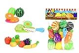 Toi-Toys International Obst und Gemüse Schneide-Set, 13 Teilig, mit Messer, Schneidebrett und Teller, Hartplastik