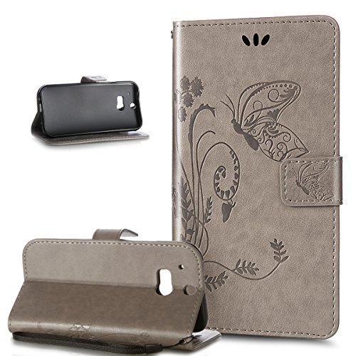 Kompatibel mit HTC One M8 Hülle,HTC One M8 Schutzhülle,ikasus Prägung Groß Schmetterling Blumen Muster PU Lederhülle Flip Hülle Cover Schale Ständer Wallet Case Schutzhülle für HTC One M8,Grau