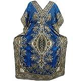 Mogul Interior Kaftan Dashiki Print Kimono Sleeves Boho Caftan Dress