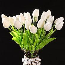 TOOGOO(R) 10 Piezas De Tulipan Blanco De Flor De Latex del Tacto Real