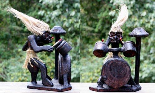 lz Primitiv Tribal Statue mit Trommel-Kit Tiki Bar Drummer Band handgefertigt Geschenk Home Decor ()