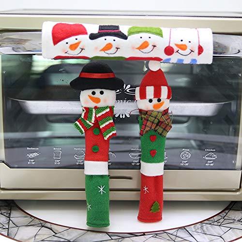 Weihnachtstürhandschuh, Türgriffabdeckung für Mikrowelle, antistatische Schutzabdeckung für Doppeltür, Türgriffhandschuhe aus heimischem Stoff (Stoff Mikrowelle)