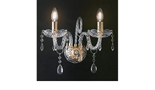 Applique gocce cristalli k9 vetro finiture oro lampada da parete