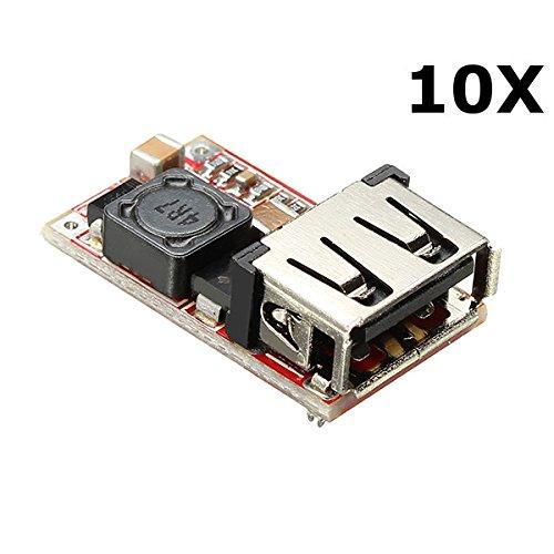 Ils - 10 Stück DC-DC-Buck-Modul 6-24V 12V/24V bis 5V 3A USB Step Down Stromversorgung Ladegerät Wirkungsgrad 97,5%
