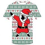 Elecenty Herren Pullover Weihnachten Kurze Ärmel 3D Druck Pullis Rundhals Tops Weihnachtspulli Männer Christmas Sweatshirt Bluse