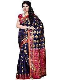 Mimosa Women's Traditional Art Silk Saree Kanjivaram Style With Blouse Color:Navy(3310-150-NVY-RNI)