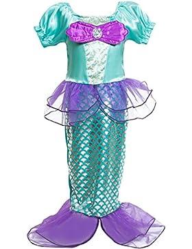 Kosplay Mädchen Pailletten kleine Meerjungfrau Kostüm Prinzessin Kleid Kostüme Eiskönigin Prinzessin Kostüm Kinder...