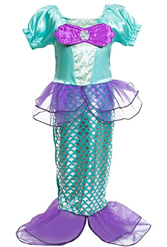 Kosplay Mädchen Pailletten kleine Meerjungfrau Kostüm Prinzessin Kleid -