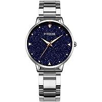 Alienwork Quarz Armbanduhr echtes Marmor Zifferblatt Uhr Damen Uhren Mädchen sternenklarer Himmel Metall schwarz silber S003GA1-G-02
