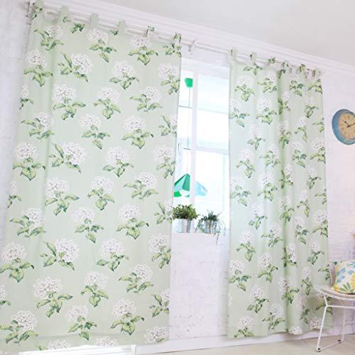 GZ-curtain Halbverdunklungsvorhänge - - Kleiner frischer Vorhangstoff 140 * 215cm - Weiße Blume grüner Hintergrund