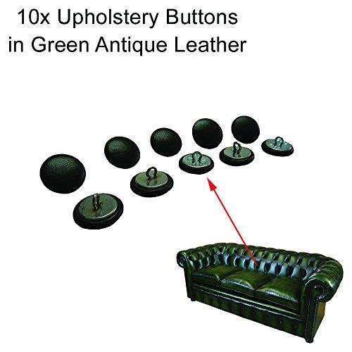 10x 20mm grün Leder Chesterfield Knöpfe mit Draht Rücken für traditionelle Tief Button Chesterfield Polstermöbel, Sofas, Stühle, Hocker handgefertigt in England–Antik Finish