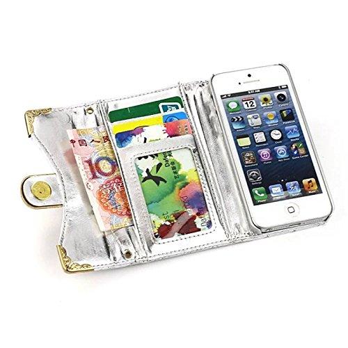 Vandot 3 in 1 Accessori Bling Case Cover Cuoio Del Diamante Magro Flip Case Set per iPhone 5 5S, Portafoglio Card Cover PU Elegante Brillante Cristallo Rhinestone Magnetico Basamento Libro Protettiva  Argento