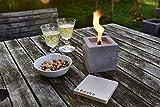 Beske-Betonfeuer mit 'Dauerdocht'   Größe 10x10x10 cm   Wiederbefüllbare Gartenfackel   'Unendliche' Brenndauer durch umweltfreundliches Recycling von Kerzenwachs