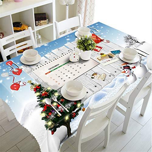 Shuangklei Weihnachtstischdecke Kiefer Weihnachtstischdecken Blumenmuster Gedruckt Staubdicht Tischdecken Für Home Party-140X220Cm