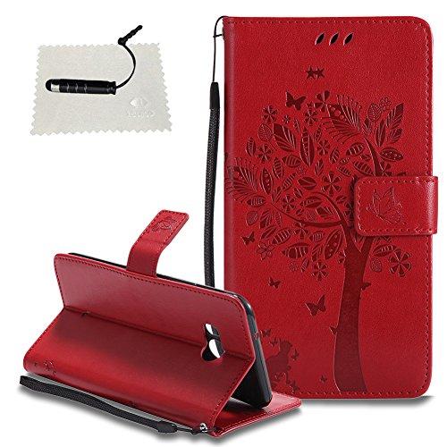 TOCASO Schutzhülle für HTC U11 Hülle Flip Cover Case Wallet & Baum Indische Vintage Design Hand Strap Brieftasche hülle Lanyard Handyhülle und Karte Halter Shell Klapphülle Pen- Rot Htc Design