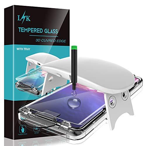 L K [2 Stück Schutzfolie für Samsung Galaxy S10 Plus Panzerglas [Unterstützung Fingerprint Entsperren] [UV-Licht Installation] [3D Abgerundete] Gehärtetem Glas Displayschutzfolie