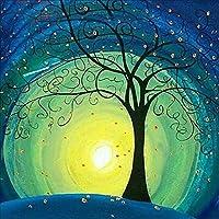 Qiulv 5D Luna Árbol Diamante Pintura Bricolaje Luz De La Luna Imágenes Pegado Bordado Punto De