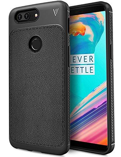 Funda OnePlus 5T, KuGi anti-rasca la Carcasa del teléfono TPU del cuero de la imitación ninguna Case del teléfono móvil caja del teléfono Cover para OnePlus 5T Smartphone, (Negro)
