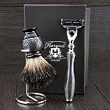 4pièces Ensemble de rasage pour homme. Ensemble est livré avec Noir Badger Brosse à cheveux, rasoir Gillette Mach 3et support de brosse. Fabriqué en acier inoxydable avec.