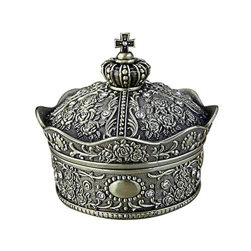 schmuckkästchen damen, Zink-Legierung Europäische Retro-Krone Schmuckschatulle, kreative und schöne Diamant Rose Geschenkbox