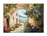 deinebilder24 Deko-Bild - 80 x 120 cm - Ölgemälde - Haus in der Nähe des Meeres, Bunte Blumen, Sommer Seelandschaft