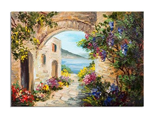 deinebilder24 - Deko-Bild - 80 x 120 cm - Ölgemälde - Haus in der Nähe des Meeres, bunte Blumen,...