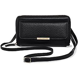 Bolsa de Hombro Mujer, Pequeño Bolsos Bandolera Mini Teléfono Móvil Carteras Bolso Monedero Bolso de Clutches PU Katloo + Cortaúñas (Negro)